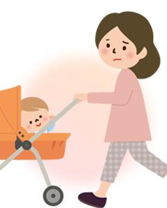 ママと赤ちゃん不調のイラスト